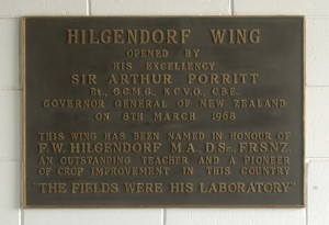 Hilgendorf Wing dedication plaque (Photo: Lincoln University Community Archive)
