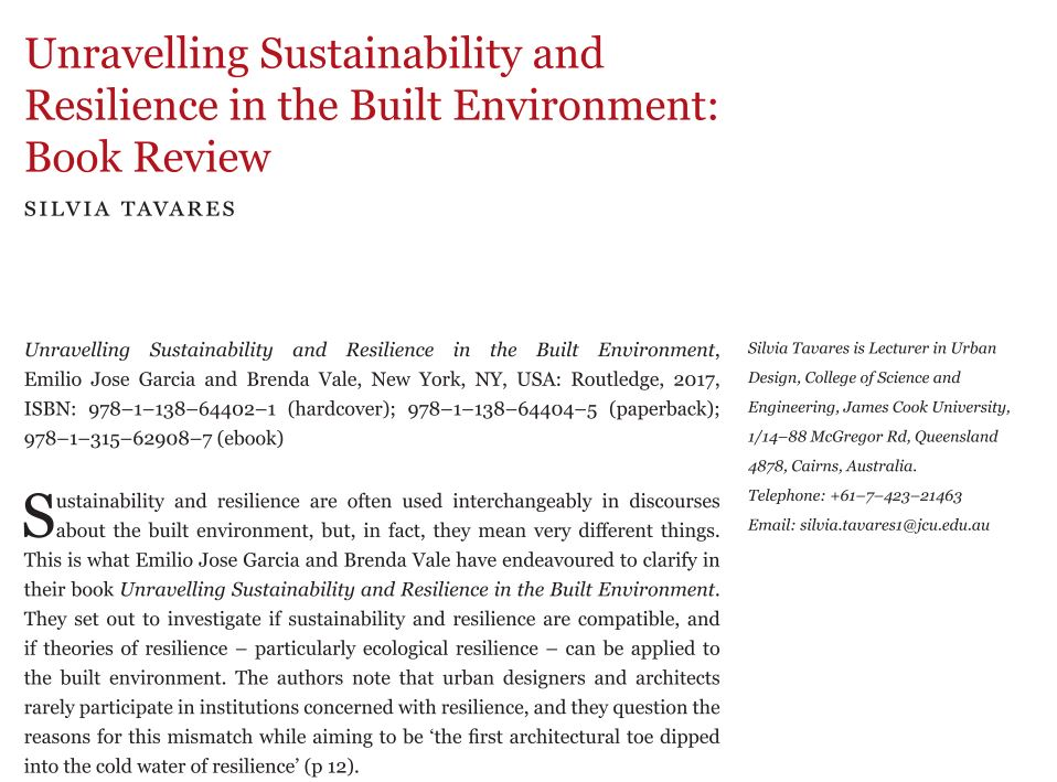 Unravelling Sustainability and Resilience in the Built Environment: Book Review