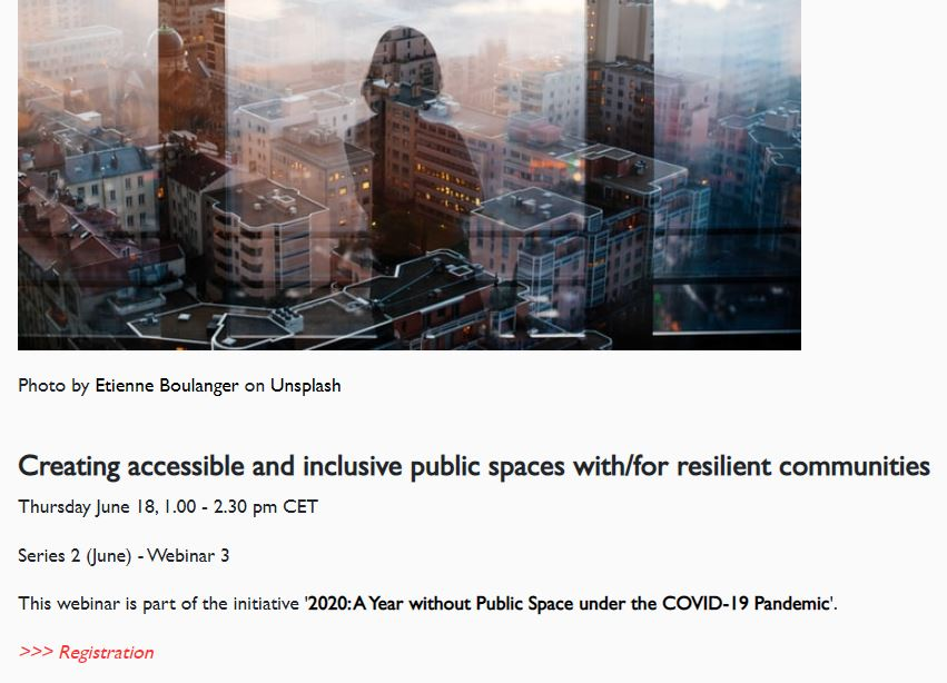 Upcoming Webinar: Creating accessible and inclusive public spaces with/for resilient communities