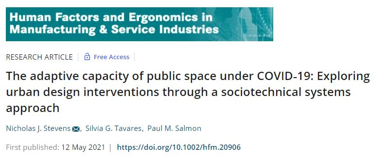The adaptive capacity of public space under COVID‐19: Exploring urban design interventions through a sociotechnical systemsapproach